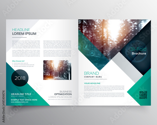 Fototapeta business bifold brochure or magazine cover design vector template obraz