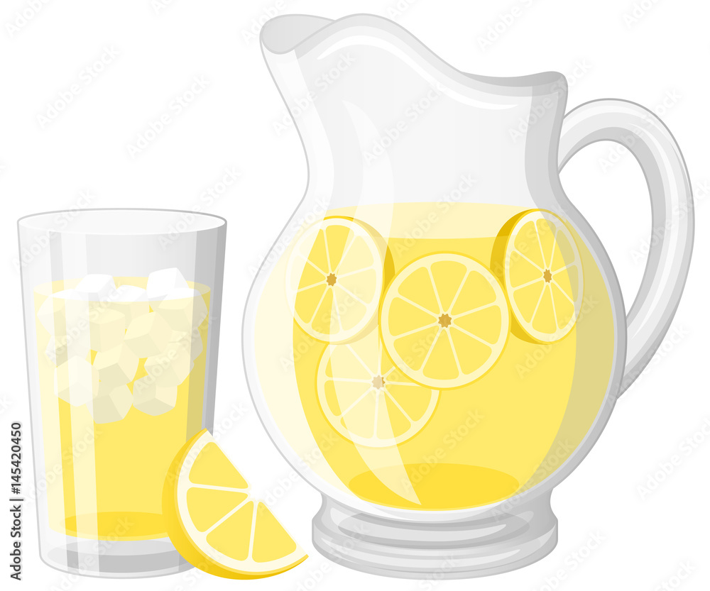 Fototapety, obrazy: Vector illustration of a glass and a pitcher of lemonade.