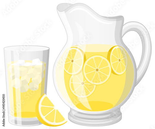 Fototapeta Vector illustration of a glass and a pitcher of lemonade. obraz