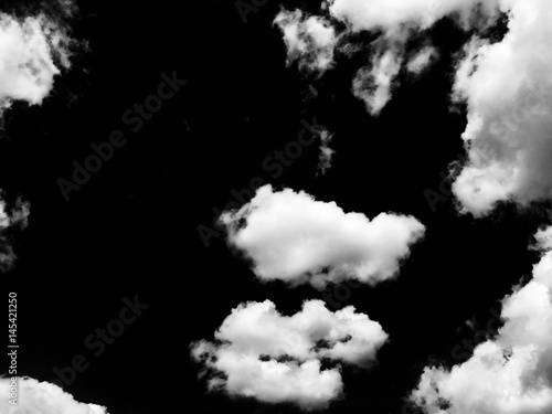 Aluminium Prints Heaven Isolated clouds over black.