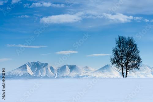 Valokuva  北海道、雪の十勝岳に登る朝日