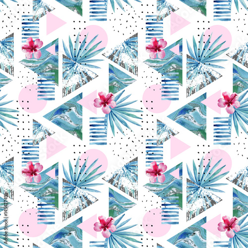 Abstract summer geometric background with exotic flower and leaves