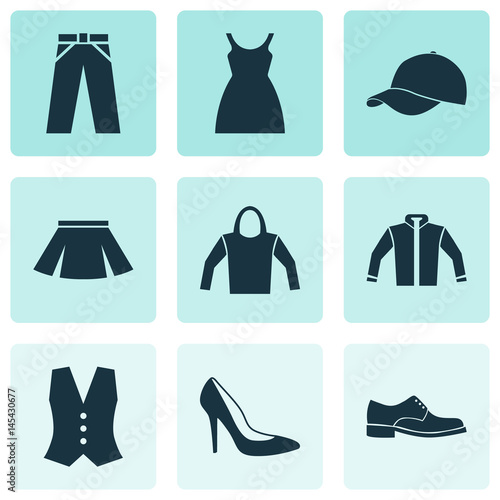 8dd2e56f Dress Icons Set. Collection Of Heel Footwear, Trilby, Sweatshirt And Other  Elements.
