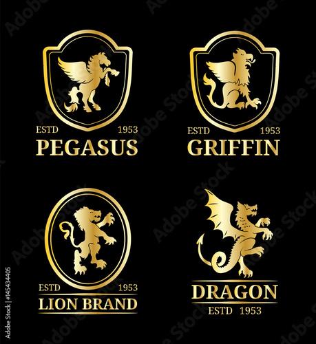 vector crest monograms templates luxury pegasus dragon lion
