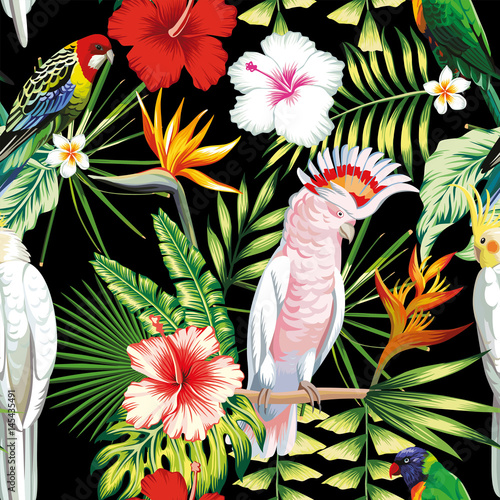 Parrot tropical flowers and leaves seamless pattern black backgr