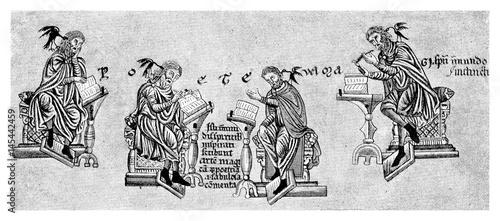 Fotografija  Medieval image representing inspirated poets
