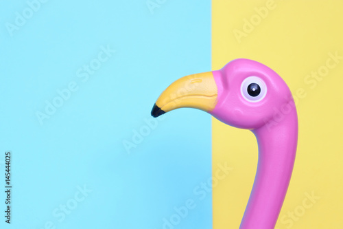 Pink plastic flamingo on pastel background with room for copy.