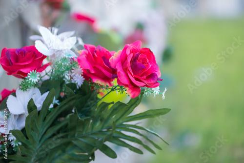 Foto op Canvas Begraafplaats Flowers in a cemetery