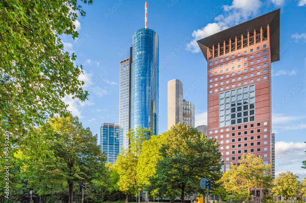 Fototapety, obrazy: Frankfurt am Main financial district in summer, Hessen, Germany