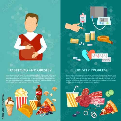 Obesity Fat Man Causes And Effects Of Obesity Banner Bad Food Concept Buy This Stock Vector And Explore Similar Vectors At Adobe Stock Adobe Stock