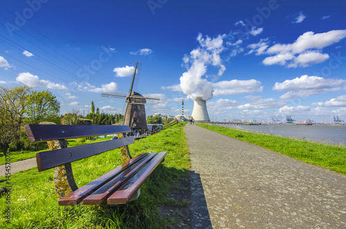 View of the nuclear power plant in the town of Doel, Belgium. Wallpaper Mural