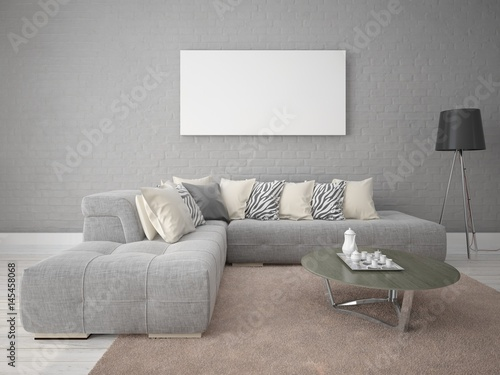 Mock Up A Modern Living Room With A Stylish Sofa Set Against A