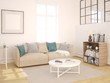 Mock up a bright living room in Scandinavian style with a compact sofa.