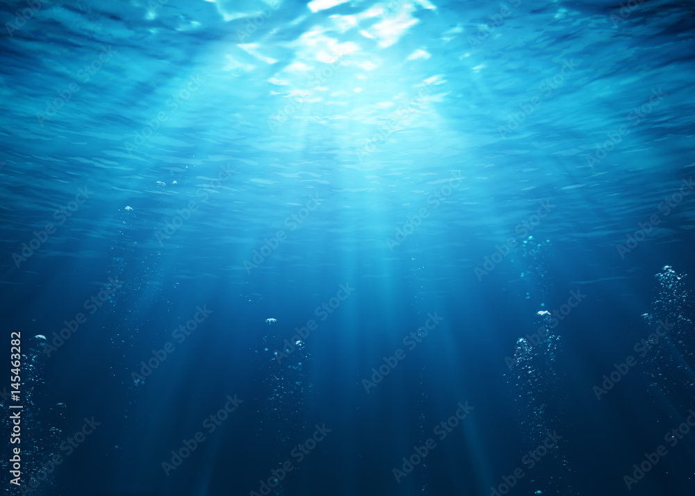 Fototapety, obrazy: Underwater Scene With Bubbles And Sunbeams