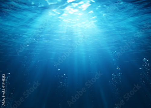 Underwater Scene With Bubbles And Sunbeams Fototapeta