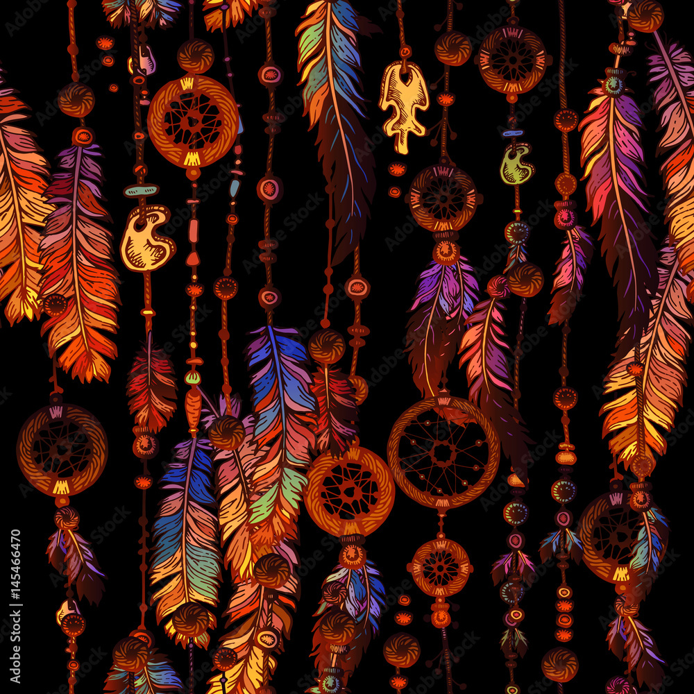 Dream Catcher for Tribal boho seamless pattern