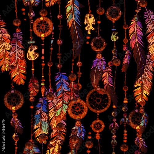 Papiers peints Style Boho Dream Catcher for Tribal boho seamless pattern