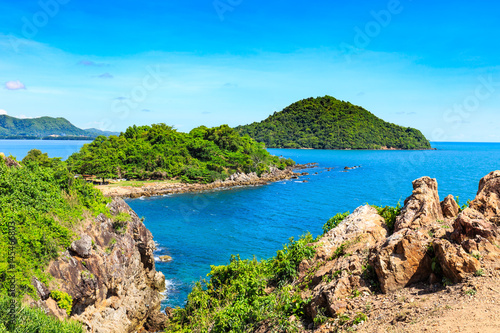 Sea view from gulf of Thailand with mountain