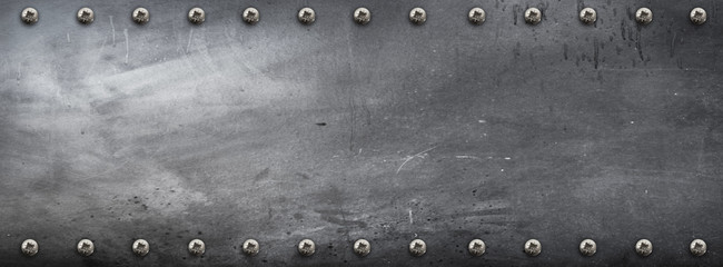 Fototapeta banner metallico con viti