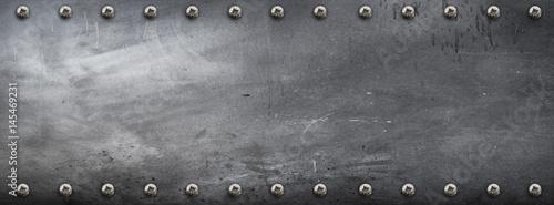 Foto op Plexiglas Retro banner metallico con viti