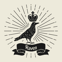 Background With Black Raven. H...