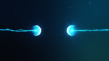 Two Particles Ready To Collide To One Another Artistic Image