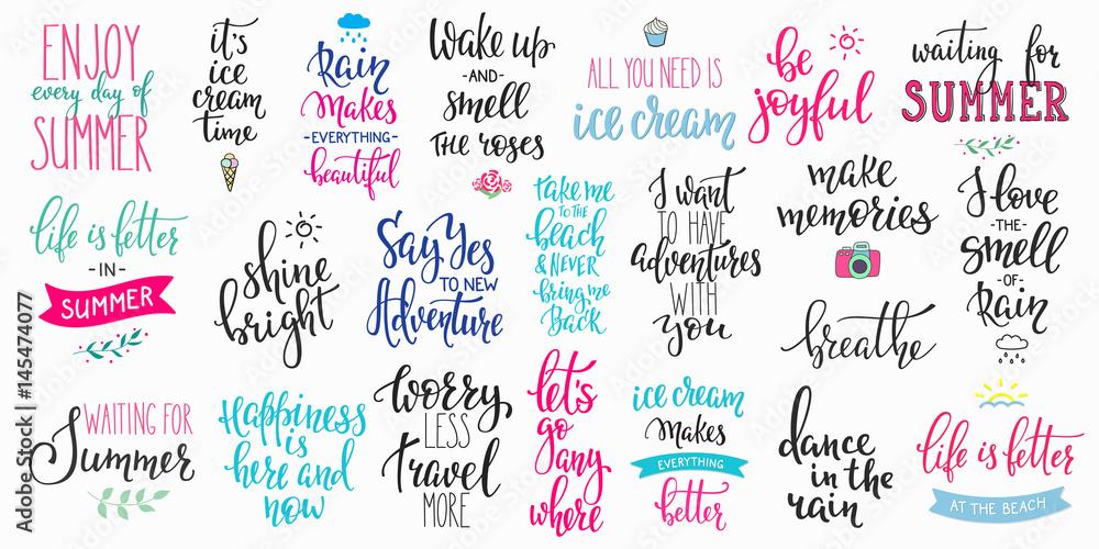 Fototapeta Hello summer lettering typography big set