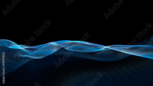Foto op Plexiglas Abstract wave 3d illustration of abstract wave structure scientific background