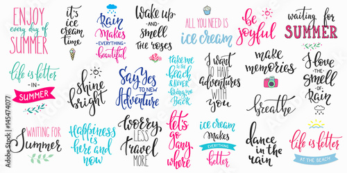 Fotografía  Hello summer lettering typography big set