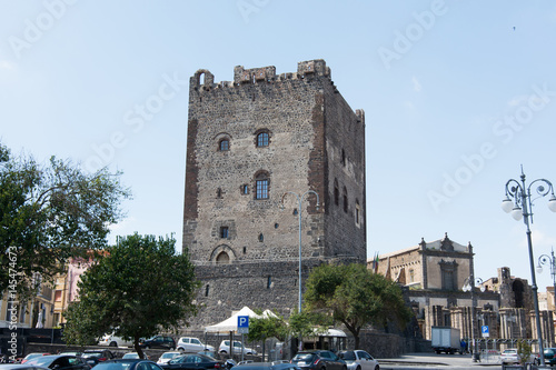 The norman castle in Adrano, Sicily. Made in lava stones Canvas Print