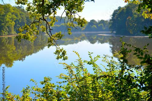 Foto auf Gartenposter Fluss beautiful view of the lake through the trees