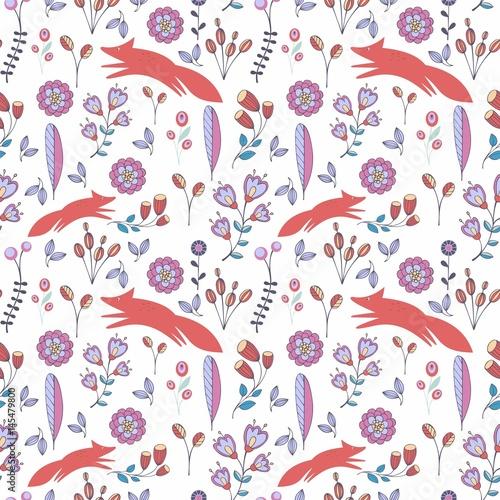 ladny-stylizowany-wzor-kwiaty-i-lisy