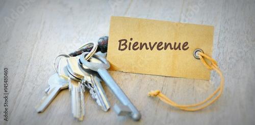 Fotografie, Obraz  bienvenue sur étiquette sur trousseau de clés,concept d'accueil