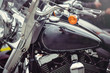 tank classic motorcycle, protective windscreen and steering wheel