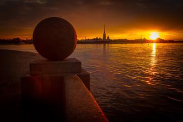 Granite ball on the Spit of Vasilyevsky island, St Petersburg, Russia