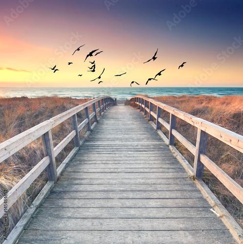Foto op Plexiglas Panoramafoto s romantischer Sommerabend am Meer