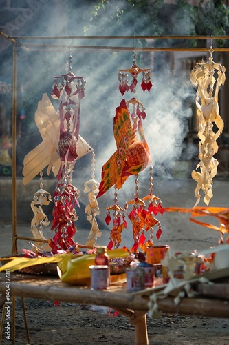 Photo Stands Bali Old fish Sharp ornament made of palm leaf