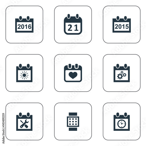 Vector Illustration Set Of Simple Date Icons Elements Renovation Tools Intelligent Hour Annual