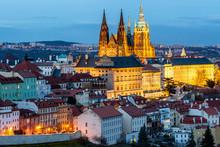 Prague, Czech Republic. Hradcany (Prague Castle) With St. Vitus Cathedral And St. George Church Evening Dusk, Bohemia Landmark In Praha.