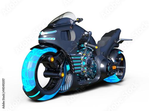 motocykl-przyszlosci-z-niebieskimi-oponami-na-bialym-tle