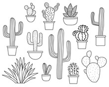 Set Of Hand Drawn Cactus Plants In A Cartoon Style Including Agave, Aloe Vera And Cacti In Pots. Line Art With No Fill.