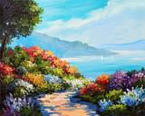 oil painting, house near the sea, sea coast, colorful flowers, summer seascape - 145495099