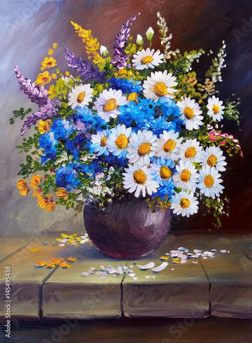 Obraz Bukiet kwiatów w wazonie - obraz malowany - fototapety do salonu