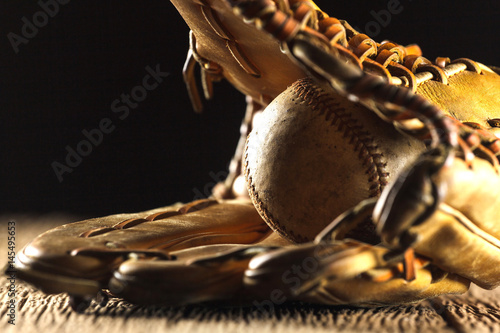 Close up image of an old used baseball Poster