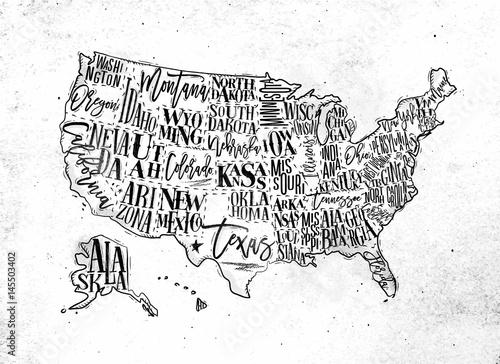 Map USA vintage Wallpaper Mural