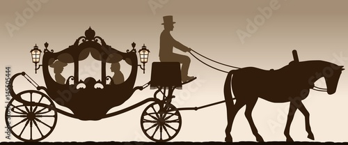 Leinwand Poster Silhouette of a carriage