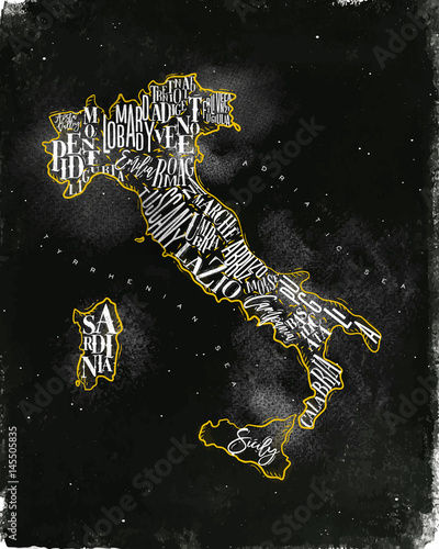 Map Italy vintage chalk yellow Canvas Print