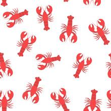 Red Lobster Flat Seamless Patt...