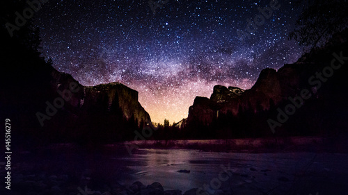 Milky Way at  Yosemite Valley View Wallpaper Mural