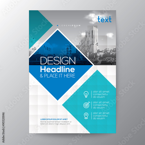 Blue And Teal Diamond Shape Graphic Background For Brochure Annual Report Cover Flyer Poster Design Layout